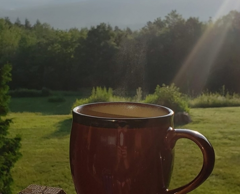 Enjoy Coffee With A Mountain View At Nordic Village Jackson NH