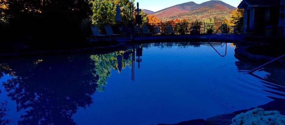 Nordic Village Pool And Foliage In Background