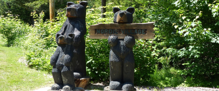 Nordic Village Carved Bears With Our Sign