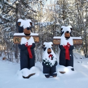 Three Bears At Nordic Village Entrance Covered In Snow