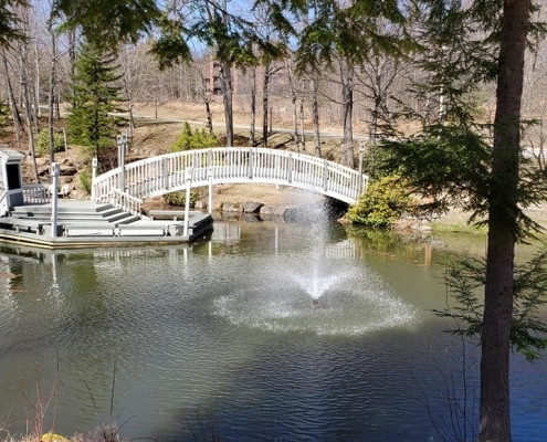 Nordic Village Grounds And Bridge Over Pond